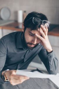 Man stressed with bankruptcy